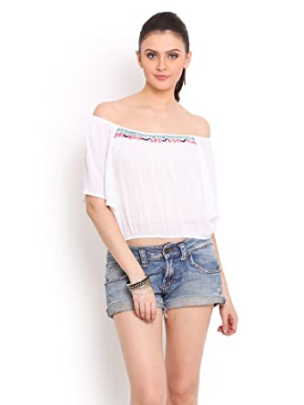 Trend Arrest Women's Cotton Tops (T205301S _Small_White)