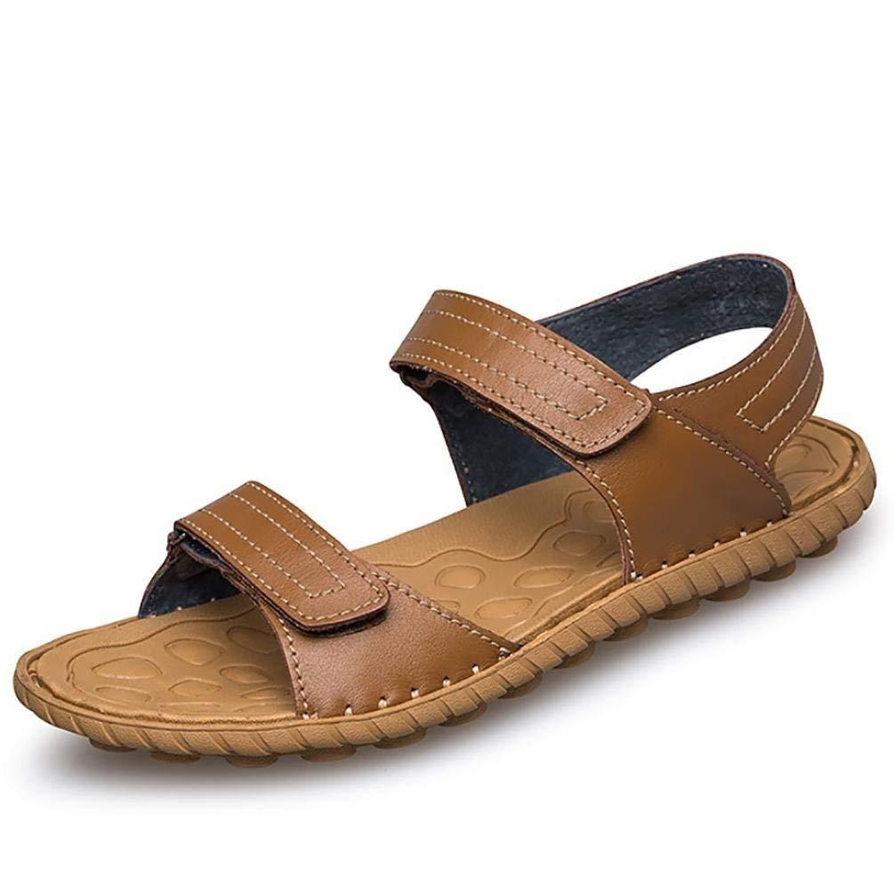 Brown Yingsssq Men's Summer Flip Flops Casual Leather Sandals (color   Brown, Size   38)