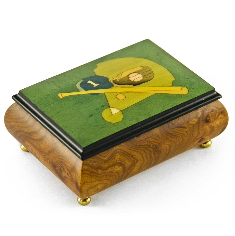 Sports Theme Wood Inlay: Baseball- Collectible18 Note Musical Jewelry Box - Rock of Ages - Christian Version by MusicBoxAttic