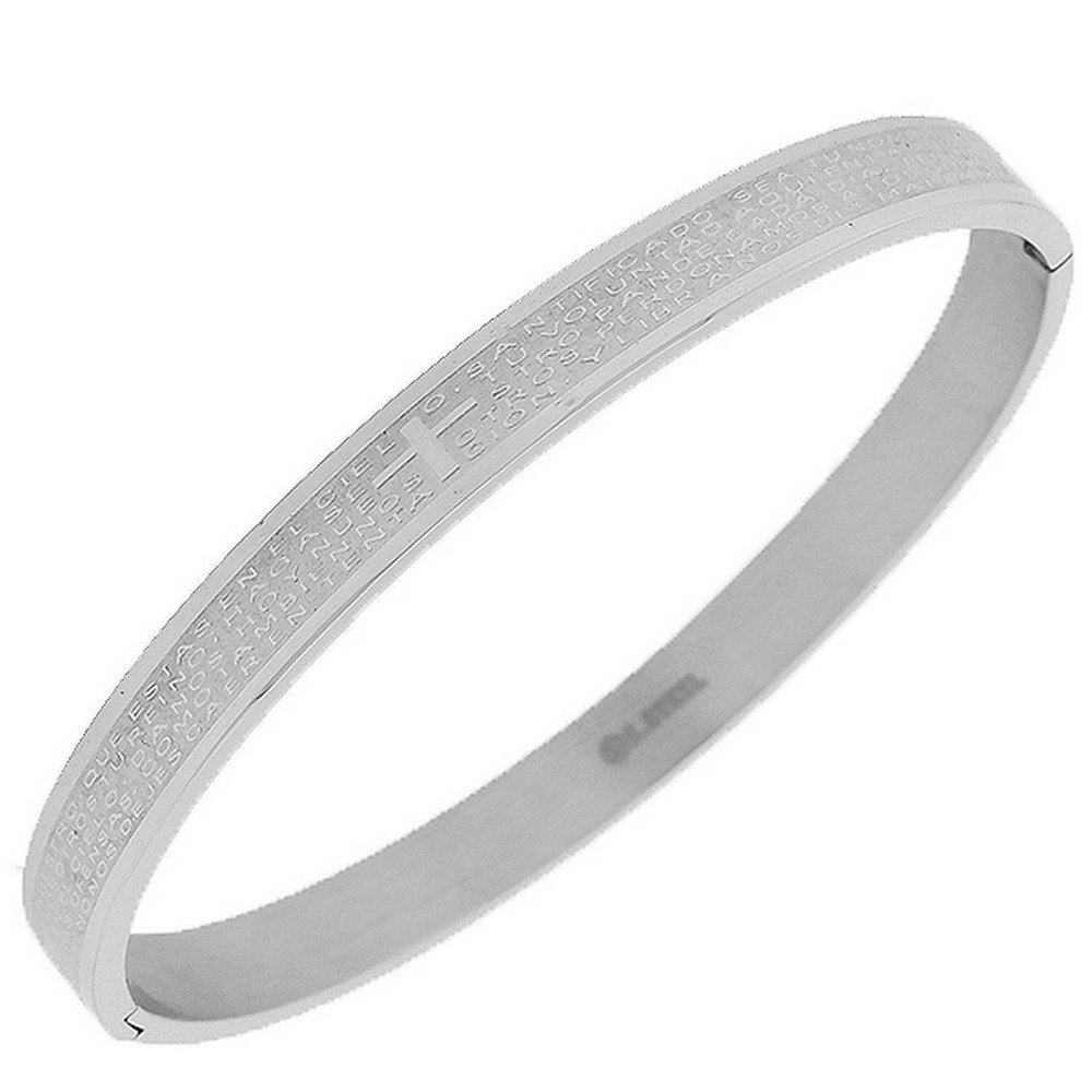 Stainless Steel Silver-Tone Cross Lord's Our Father Prayer in Spanish Religious Cross Bangle Bracelet My Daily Styles B243