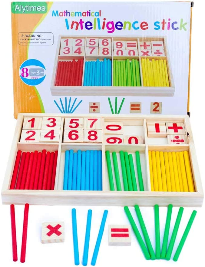 200//500//1000pcs Wood Counting Sticks Rods Preschool Math Learning Toy 2 Colour