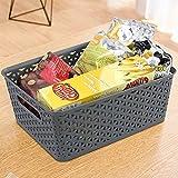 Hespapa Grey Plastic Basket, Weave Storage