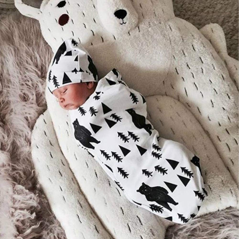 0-12month Hstore Newborn Baby Boy Girl Warm Swaddle Pajamas Gown Sleep Bags+Hat