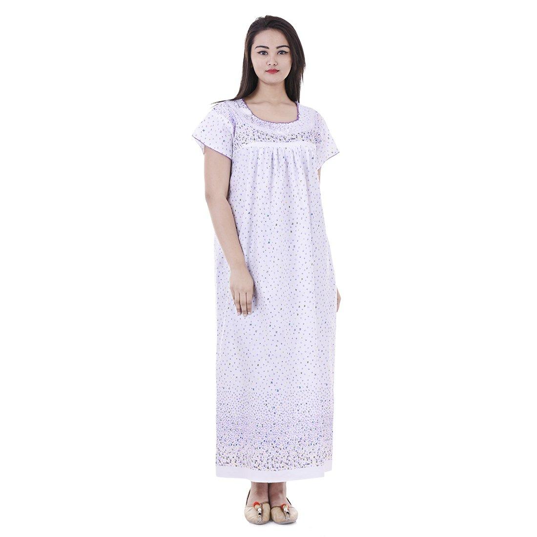 81826f98d9ea Womens Nighty Nightwear Gown Cotton Maxi Dress Sleepwear Nightgown Bikini  Cover Beachwear at Amazon Women s Clothing store