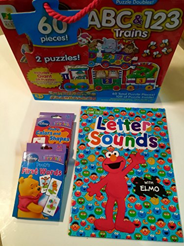 Gift For Toddlers, Kindergarteners; 2 Giant Train Floor Puzzles- ABC and 123, Sesame Street Book Letter Sounds, Disney Winnie The Pooh's Colors and Shapes and Pooh's First Words Flash Cards; 4-pc