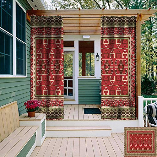 leinuoyi Turkish Pattern, Outdoor Curtain Modern, Rectangular Frames and Abstract Shapes with Ottoman Origins, Fabric W72 x L108 Inch Ruby Pistachio Green Brown