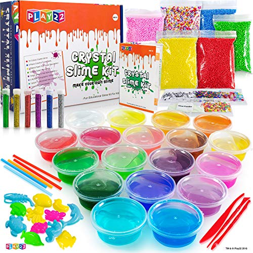Play22 DIY Slime Kit for Kids - 18 Color Crystal Slime Making Kit, Includes Colorful Foam Balls, Fruit Face, Eyes, Stars, Glitter, Beads, Molds, Straws, Glow in Dark Powder and Much More – Original by Play22 (Image #5)