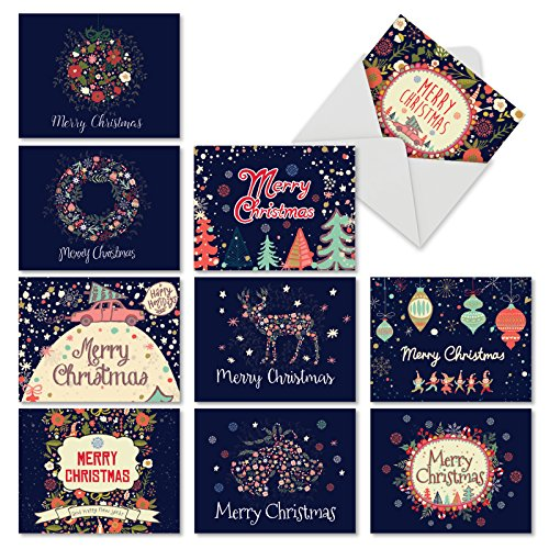 M2936XSB FESTIVE FLORALS: 10 Assorted Blank Christmas Note Cards Featuring Watercolor Flower Images Combined with Holiday Sayings With Envelopes. (Of Cards Inside Sayings Christmas)