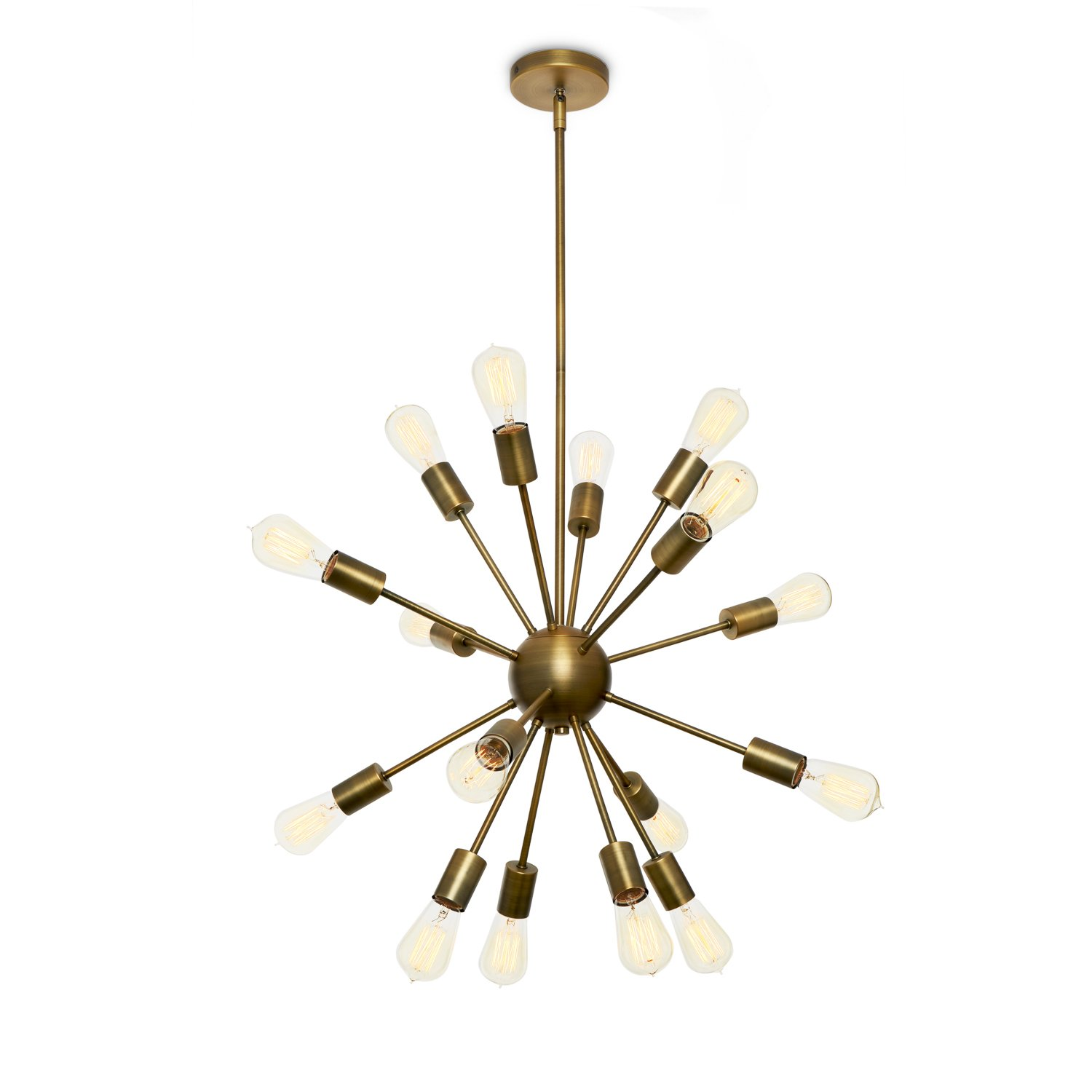 Brass sputnik chandelier 16 light mid century ceiling fixture modern starburst style dimmable damp located etl listed