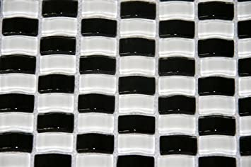Restposten Glasmosaik Bad Kuche Wc Schwarz Weiss Glas Gewolbt 4mm Neu