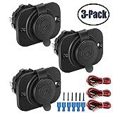 12V Cigarette Lighter Socket Car Marine Motorcycle ATV RV Lighter Socket Power Outlet Socket Receptacle Waterproof Plug 3Pack By MXRS (Color: 2)