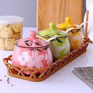 MUMUMI Spice Storage Containers,Spice Jar Set Storage Containers Porcelain Condiment Jar Ceramic Spice Jars with Lid Seasoning,B