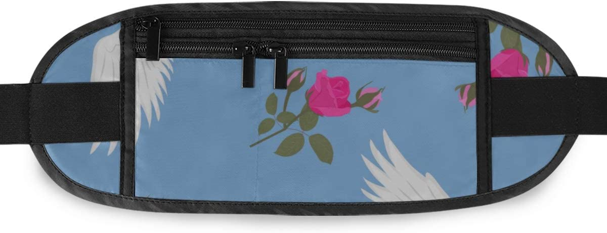 Beautiful Cranes Roses Running Lumbar Pack For Travel Outdoor Sports Walking Travel Waist Pack,travel Pocket With Adjustable Belt