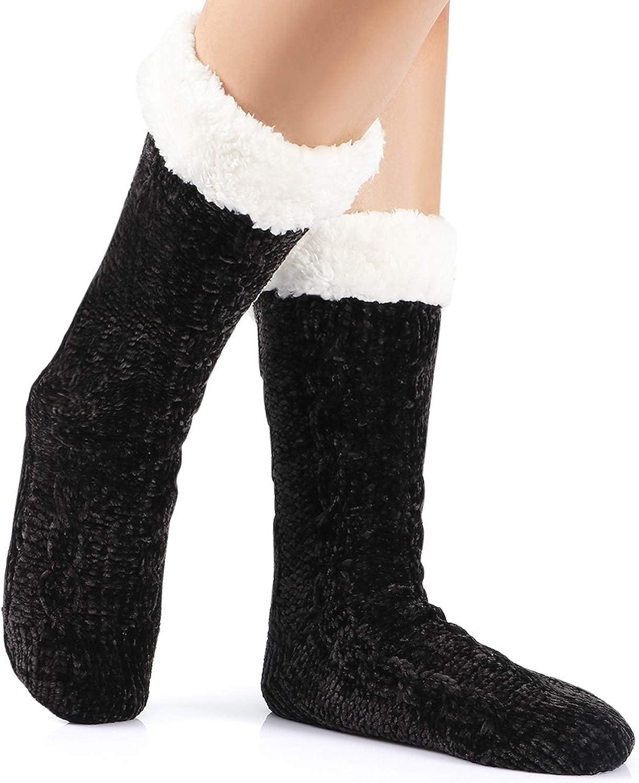 Tacobear Women Slipper Socks Warm Fluffy Socks Super Soft Fuzzy Socks Winter Knit Socks Chenille Socks Fleece Lined Home Socks for Men and Ladies