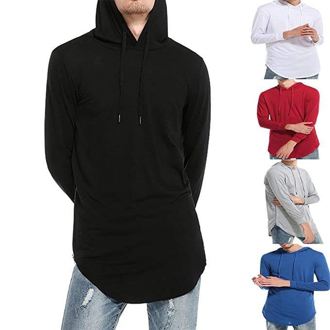 OHQ_Camisa Hombre Blusa OtoñO Moda 2018 Camiseta Manga Larga con Rotos SóLidos Top Blusa AlgodóN Pantalones