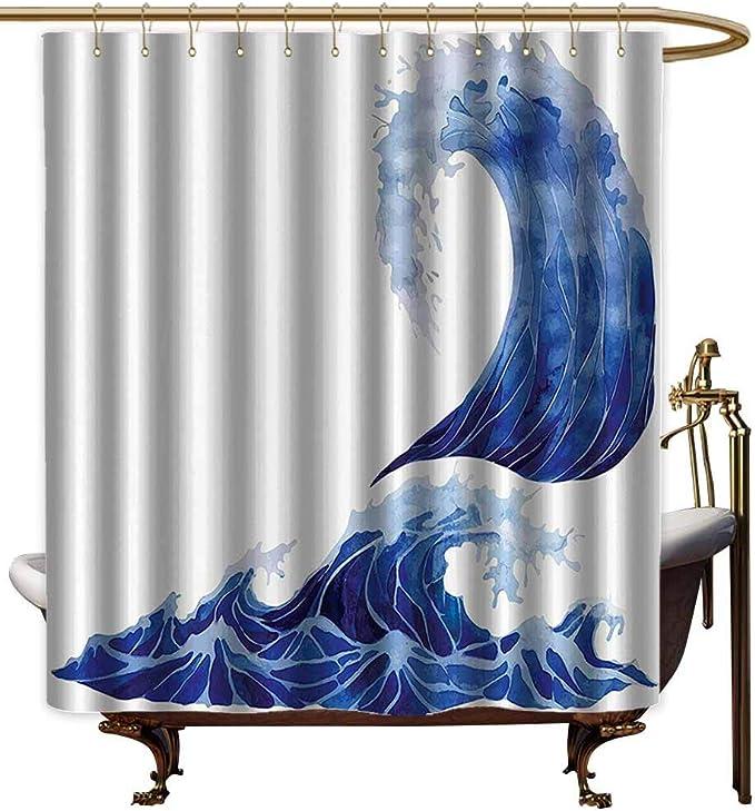 Cortinas de ducha para juegos de baño de océano, decoración de la vida marina con conchas de animales marinos y estrellas y telón de fondo a rayas, color azul marino dorado y
