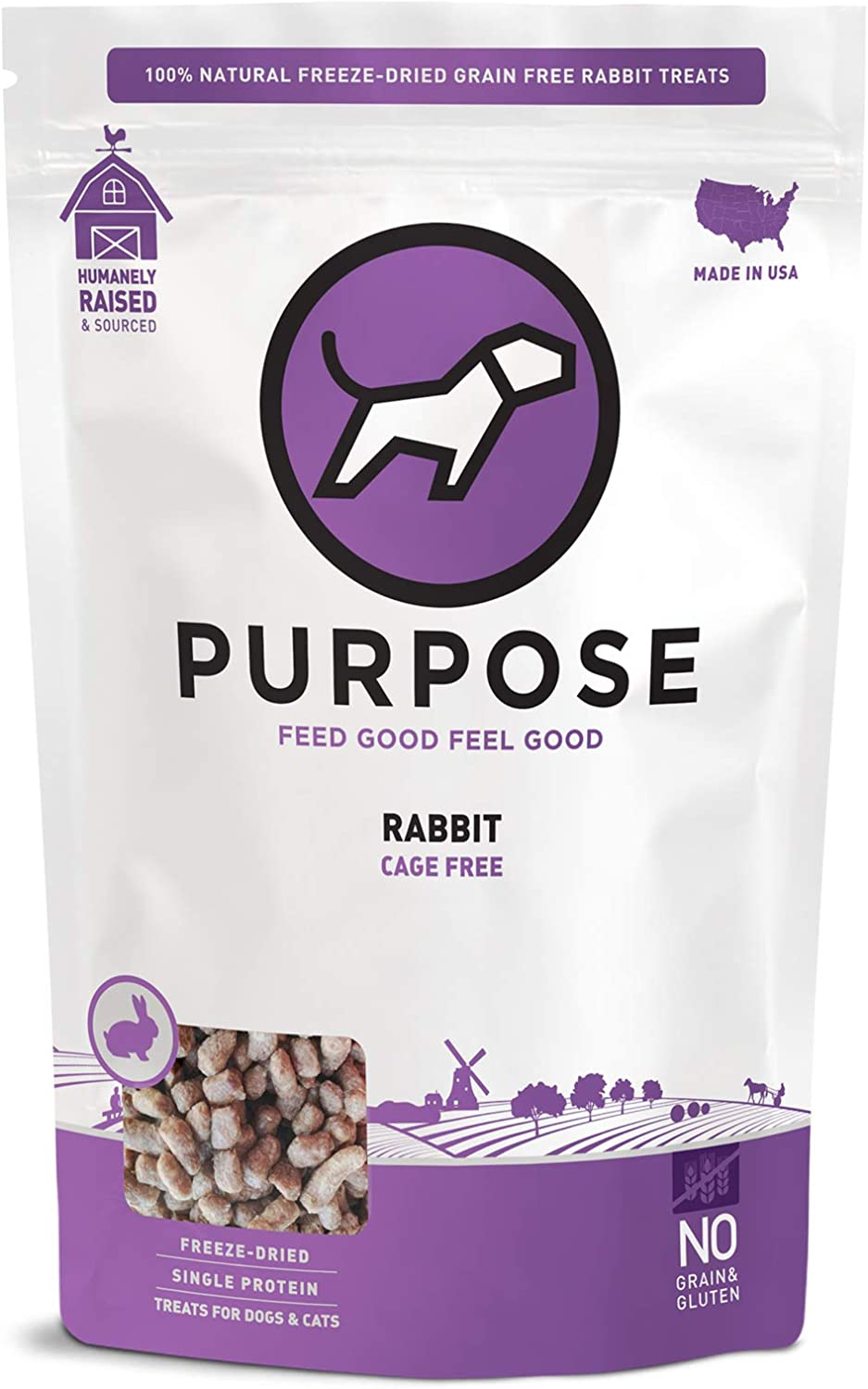 PURPOSE Freeze Dried All-Natural Grain-Free Raw Rabbit Dog Treats 2.5 oz. | Made in The USA | for Dogs & Cats