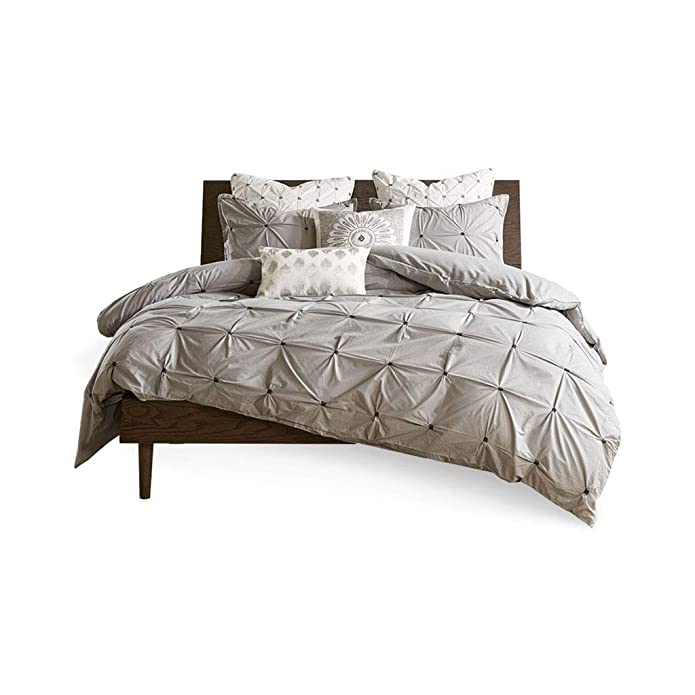 Masie King/California King 3pc Embroidered Cotton Duvet Cover Set Gray