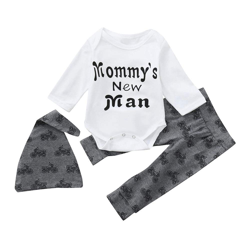 Oldeagle Newborn Infant Baby Boy Mommy's New Man Letter Print Romper Tops Pants Hat 3PCs Baby Outfits Set (6M, White)