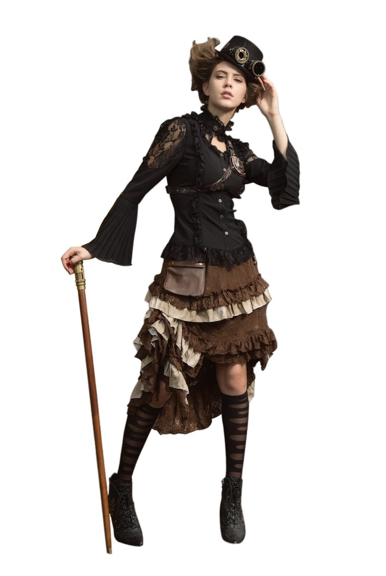 be661a9779c ... HaoLin Steampunk Victorian Gothic Lace Skirt Pirate Renaissance Costume  With Fanny Pack. Wholesale Price 76.43. Please note that this brown skirt  only