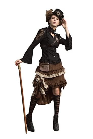 Steampunk Skirts | Bustle Skirts, Lace Skirts, Ruffle Skirts HaoLin Steampunk Victorian Gothic Lace Skirt Pirate Renaissance Costume With Fanny Pack $76.46 AT vintagedancer.com