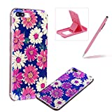 Silicone Case for iPhone 7 Plus,Herzzer Luxury Ultra Slim Stylish Blue Light [Daisy Pattern] Dual Layers Protection Soft TPU Bling Sparkle Glitter Protective Designer Case Cover for iPhone 7 Plus 5.5 inch + 1 x Free Pink Cellphone Kickstand + 1 x Free Pink Stylus Pen