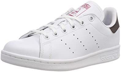 brand new be129 c9857 adidas Youth Stan Smith J Coated Leather White Trace Maroon Trainers 4 US