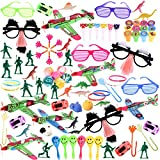 100Pcs Bulk Party Favor Pack Assortment Pinata Toys Including Bouncy Ball, wristband, Stamps,glasses,Small Cars, Dinosaur, and More