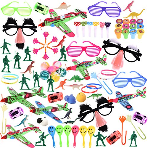 Bulk Party Favor Pinata Toy Assortment Pack of 100Pcs Including Bouncy Ball, wristband, Stamps,glasses,Small Cars, Dinosaur, and More for Goodie Bags, Pinata Fillers,Classroom Treasure Box (Pinata Filler)