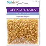 Glass Seed Beads, Silverlined, 60g, Gold