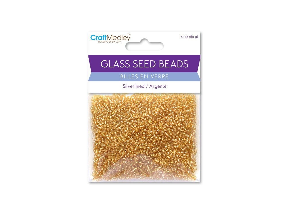 Multicraft Imports Glass Seed Beads, Silverlined, 60g, Gold
