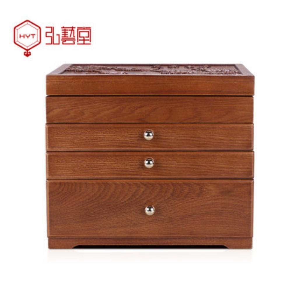 LUCKYYAN Retro fine Emboss Solid Wood Jewelry Box Necklace Storage Box Multifunctional Storage Box for Wedding Birthday Gifts , 2#