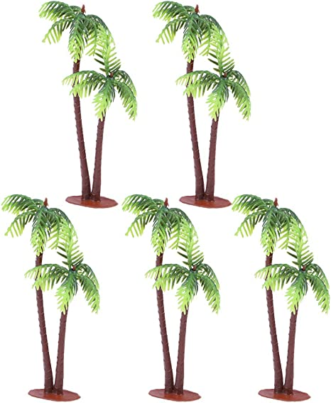 Amazon Com Tinksky 5pcs Plastic Coconut Palm Tree Miniature Plant Pots Bonsai Craft Micro Landscape Diy Decor Home Kitchen