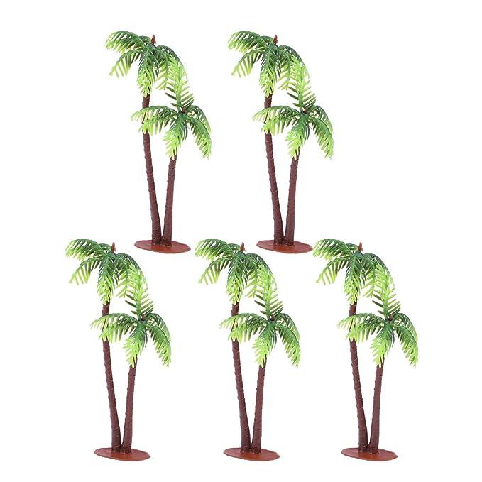 Tinksky 5Pcs Plastic Coconut Palm Tree Miniature Plant Pots Bonsai Craft Micro Landscape DIY Decor