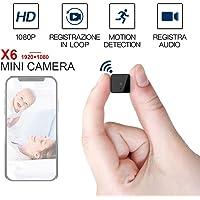 X6 Mini cámara inalámbrica Wifi, cámara de vigilancia HD 1080P con visión nocturna, cámara Mini DV Videocámara de seguridad IP DVR, cámaras de seguridad WiFi para el hogar Cámara inteligente familiar