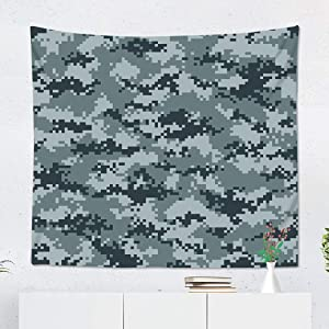 Suklly Tapestry Wall Hanging Polyester Brown Geometric Modern Camo Pattern Green Camouflage Pixel Digital Home Decor Living Room Bedroom Dorm 60 x 80 inches Picnic Mat Beach Towel