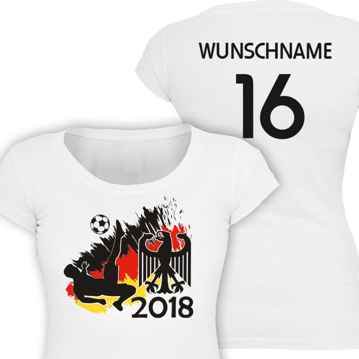 Primestick Allemagne Girl T-Shirt à Football WM 2018personnalisé avec Leurs Propres Dos numéro et nom au Choix
