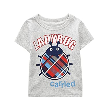 a4c9a0ec0ca Kobay Summer Casual Valueweight Cartoon Tops T-Shirt Toddler Kids Baby Boys  Girls Clothes Cute Fashion Letter Short Sleeve T-Shirt Blous  Amazon.co.uk   ...