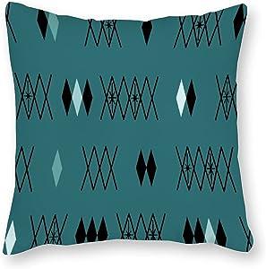 Retro Atomic Era Diamonds Pattern Teal Cotton Canvas Throw Pillow Covers Case Cushion Pillowcase with Hidden Zipper Closure for Sofa Bench Bed Home Decor 18 x 18 Inches