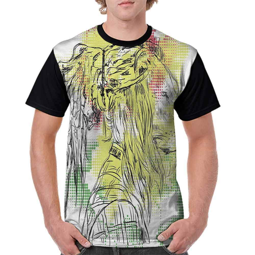 Loose T Shirt,Sketchy Lion Head Digital Fashion Personality Customization