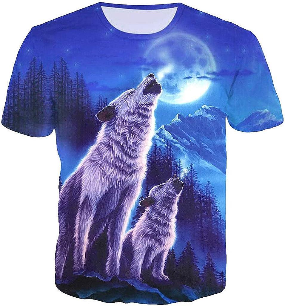 HELLOSAY Mens 3D Wolf Growl Moon Printed Tees Short-Sleeve T-Shirt