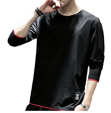 1772b87a5d26 CBTLVSN Mens Loose Soft Long Sleeve Lightweight Casual Crew Neck T-Shirt  Black XS