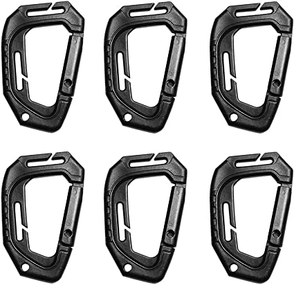 Multipurpose Plastic Steel D-Ring Tactical Carabiner Keychain Locking Buckle Clips for Molle Pouch Bag Tactical Vest Backpack Small Tools Color : Black 1pc