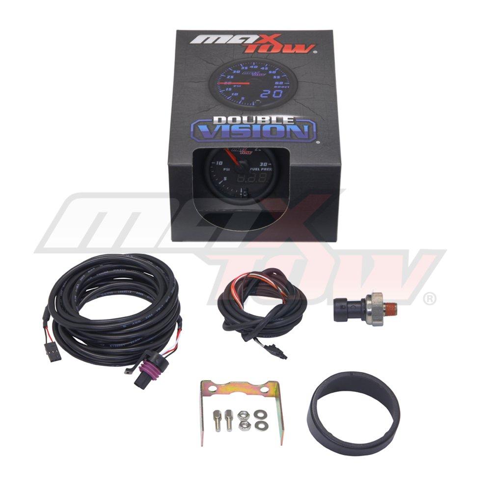 Analog /& Digital Readouts for Diesel Trucks Includes Electronic Sensor Blue LED Illuminated Dial Black Gauge Face MaxTow Double Vision 30 PSI Fuel Pressure Gauge Kit 2-1//16 52mm MT-BDV11/_30