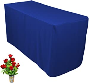 ONLINE WEDDING SUPPLY OWS 5' Feet 5 Foot Fitted Rectangle Polyester Table Cloth Tresale Table Cover Trade Show Booth DJ 5 ft Blue - 1 Pc