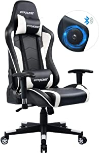 GTRACING Gaming Chair with Speakers Bluetooth Music Racing Chair Audio Heavy Duty Ergonomic Office Computer Desk Chair GT890M White