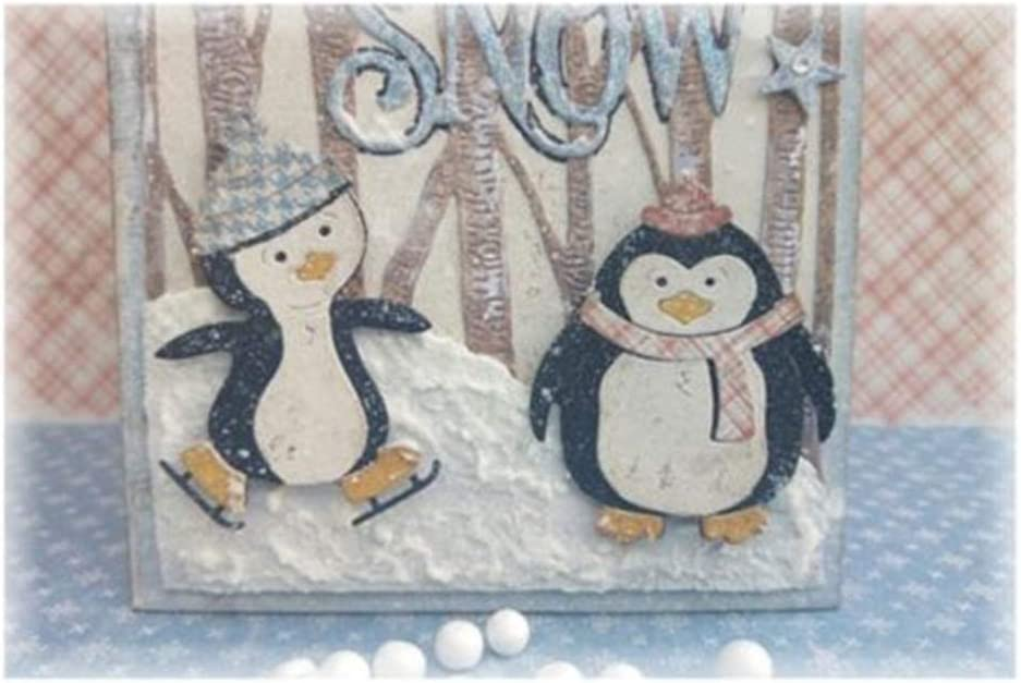 3pcs Penguin Cutting Dies Metal Embossing Stencil for Scrapbooking Album Paper Card Art Craft Decor Cutting Dies for Cards Making Silver