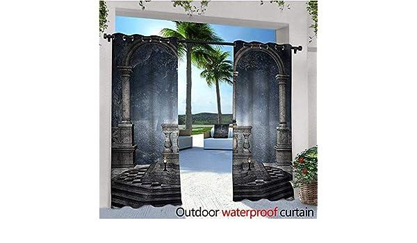 Cortinas góticas para Exterior o Exterior, Estilo Romano con diseño de Pabellón Místico, para Patio, Bloque de luz, Resistente al Calor, Resistente al Agua: Amazon.es: Jardín