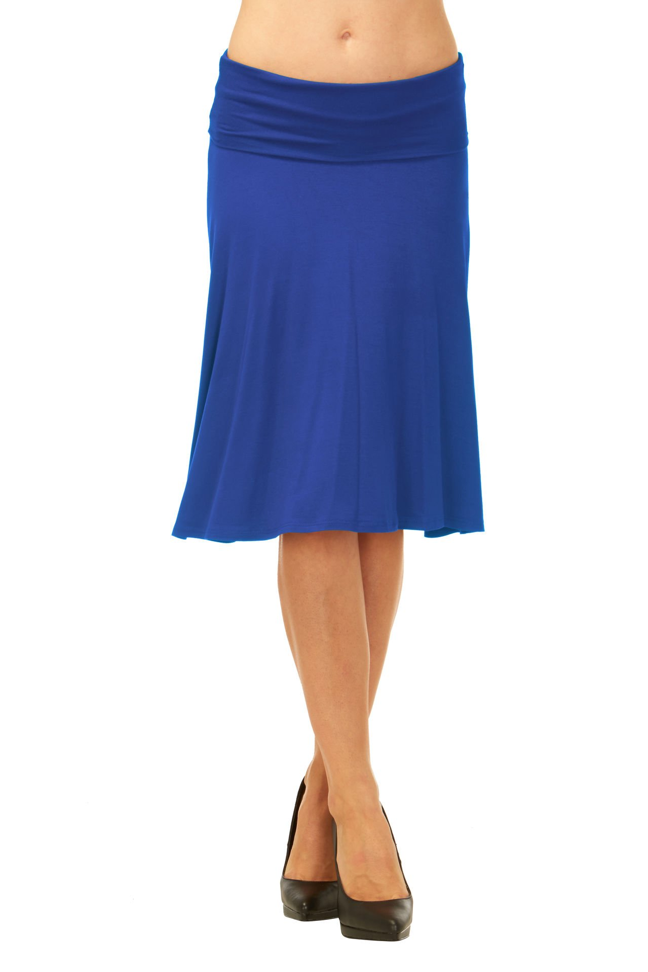 Red Hanger Womens Basic Solid Stretch Fold-Over Flare Midi Skirt (Royal Blue-XL)