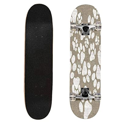 "puiuoo Dog Paw Prints Heart Longboard Skateboard Boys And Girls Beginners Professional Adult Road Brush Street Maple Boards Four-wheel Outdoor Sports Skateboard 31""x8"": Everything Else"